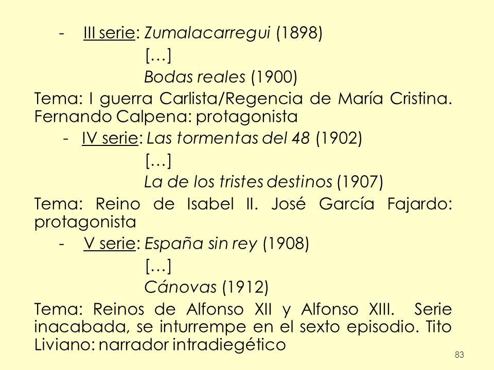 III serie: Zumalacarregui (1898) […] Bodas reales (1900)